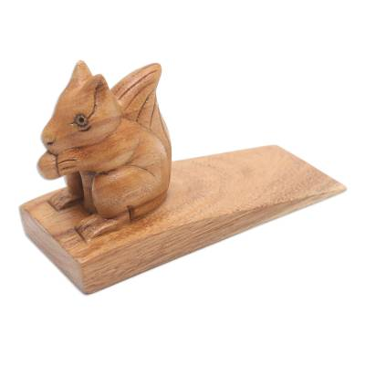 Wood doorstop, 'Helpful Squirrel in Brown' - Handcrafted Wood Squirrel Doorstop in Brown from Bali