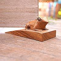 Wood doorstop, 'Helpful Toad in Brown' - Handcrafted Suar Wood Frog Doorstop in Brown from Bali