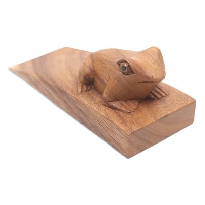 Wood doorstop, 'Helpful Toad in Brown' - Handcrafted Suar Wood Frog Doorstop in Brown from Bali