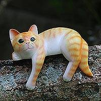 Wood sculpture, 'Orange Cat Relaxes' - Painted Wood Hanging Sculpture of an Orange Cat from Bali