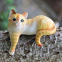 Wood sculpture, 'Watchful Orange Cat' - Painted Suar Wood Sculpture of an Orange Cat from Bali