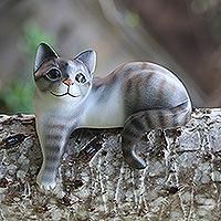 Wood sculpture, 'Watchful Grey Cat'