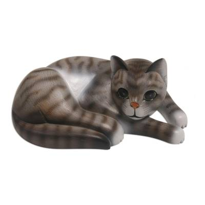 Wood sculpture, 'Adorable Grey Cat' - Painted Suar Wood Sculpture of a Lounging Cat from Bali
