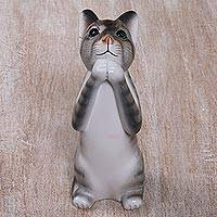 Wood sculpture, 'Grey Wishing Cat' - Painted Suar Wood Sculpture of a Wishful Grey Cat from Bali