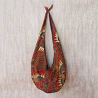Batik cotton shoulder bag, 'Lokchan Legacy' - Bird-Motif Batik Cotton Shoulder Bag in Claret from Bali