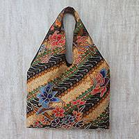 Batik cotton tote, 'Monarch Garden' - Batik Cotton Tote with Floral and Butterfly Motifs from Bali
