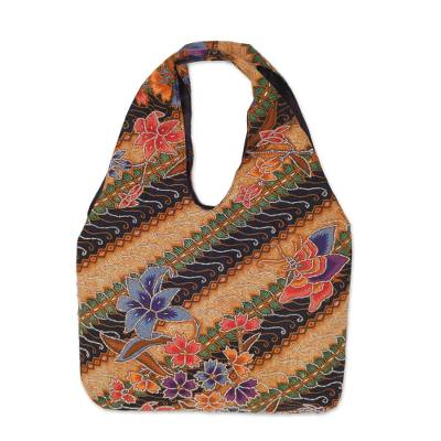 Novica Batik cotton tote, Monarch Garden