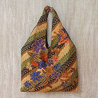 Batik cotton tote, 'Sunrise Monarchs' - Floral and Butterfly Motif Batik Cotton Tote from Bali