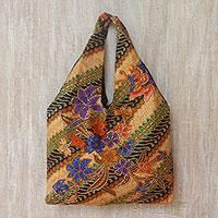 Novica Cotton batik tote bag, Gleeful Garden