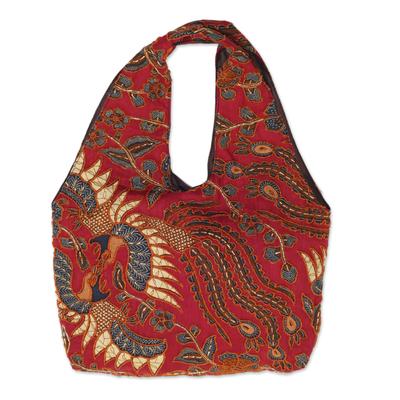 Novica Batik cotton shoulder bag, Lokchan Legacy