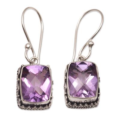 Amethyst dangle earrings, 'Temple Gleam' - Amethyst and Sterling Silver Dangle Earrings from Bali