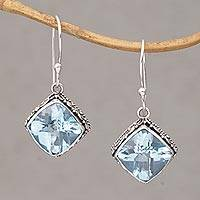 Blue topaz dangle earrings, 'Eyes of Pura' - Blue Topaz and Silver Bubble Motif Dangle Earrings from Bali