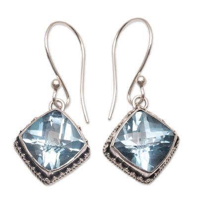 Blue topaz dangle earrings, 'Eyes of Pura' - Blue Topaz and Silver Bubble Motif Dangle Earrings from Bali
