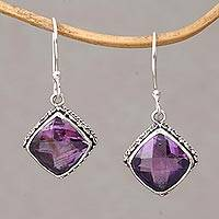 Amethyst dangle earrings, 'Eyes of Pura' - Amethyst and Silver Bubble Motif Dangle Earrings from BAli