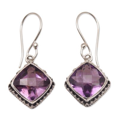 Amethyst dangle earrings, 'Eyes of Pura' - Amethyst and Silver Bubble Motif Dangle Earrings from BAli