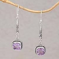 Amethyst dangle earrings, 'Majestic Gleam' - Faceted Amethyst and 925 Silver Dangle Earrings from Bali