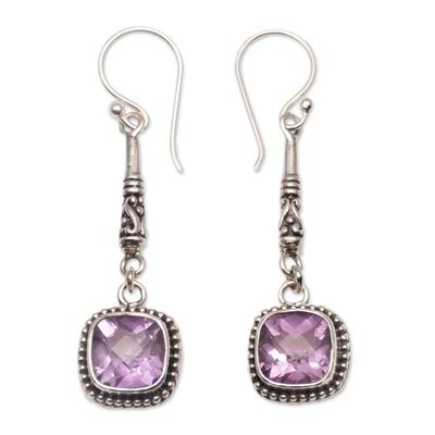 Amethyst dangle earrings, 'Majestic Gleam' - Faceted Amethyst and 925 Silver Dangle Earrings from Bali