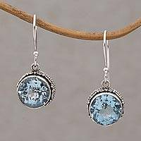 Blue topaz dangle earrings, 'Iridescent Circles' - Round Blue Topaz and Silver Dangle Earrings from Bali