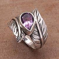 Amethyst cocktail ring, 'Leafy Caress' - Amethyst and Silver Leaf Design Cocktail Ring from Bali