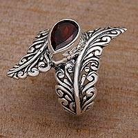 Garnet cocktail ring, 'Ferny Caress' - Garnet and Sterling Silver Fern Cocktail Ring from Bali