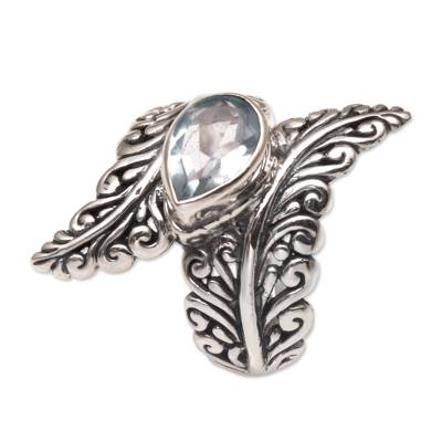 Blue topaz cocktail ring, 'Ferny Caress' - Blue Topaz and Sterling Silver Fern Cocktail Ring from Bali