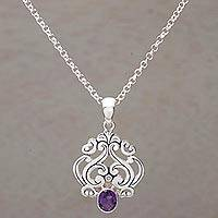 Amethyst pendant necklace, 'Jeweled Mystery' - Amethyst and Sterling Silver Pendant Necklace from Bali
