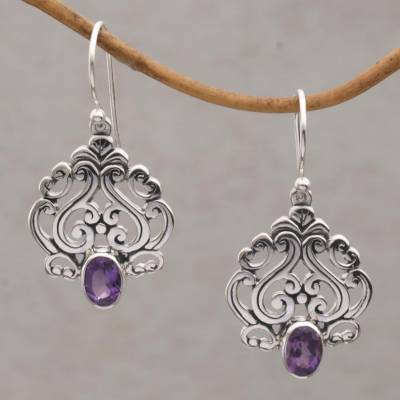 Novica Amethyst dangle earrings, Mystery Vines