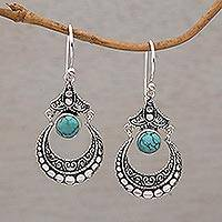Turquoise dangle earrings, 'Crescent Love' - Natural Turquoise and 925 Silver Crescent Earrings from Bali