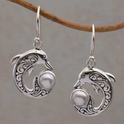 Cultured pearl dangle earrings, 'Dolphin Gift' - Cultured Pearl Dolphin Dangle Earrings from Bali