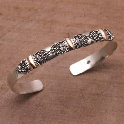 Gold accent sterling silver cuff bracelet, Sands Through the Hourglass