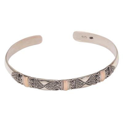 Gold accent sterling silver cuff bracelet, 'Sands Through the Hourglass' - Gold Accent Sterling Silver Dot Heart Motif Cuff Bracelet