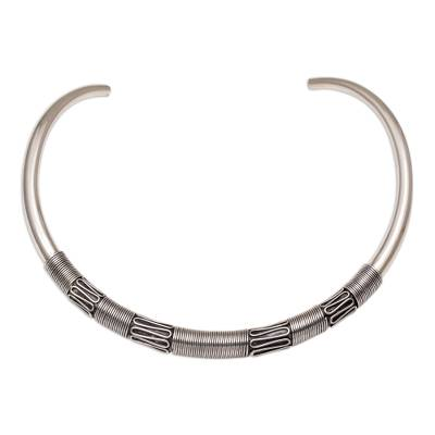 Sterling silver collar necklace, 'Spiral Princess' - Sterling Silver Bun Wire Spiral Collar Necklace from Bali