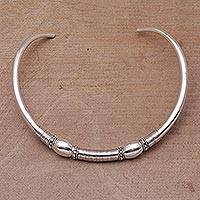 Sterling silver collar necklace, 'Bubble Queen'