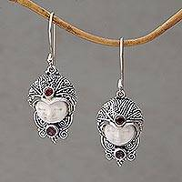 Garnet dangle earrings, 'Celuk Prince' - Garnet and Cow Bone Sterling Silver Celuk Dangle Earrings