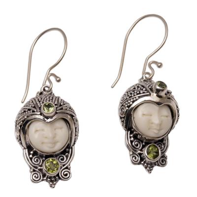 Peridot dangle earrings, 'Celuk Prince' - Peridot and Cow Bone Sterling Silver Celuk Dangle Earrings