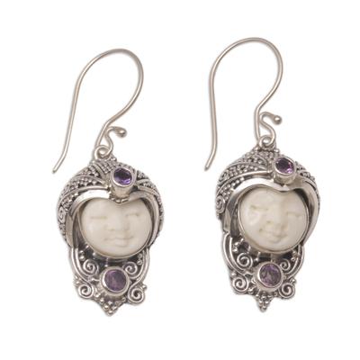 Amethyst dangle earrings, 'Celuk Prince' - Amethyst and Cow Bone Sterling Silver Celuk Dangle Earrings