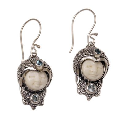 Blue topaz dangle earrings, 'Celuk Prince' - Blue Topaz and Cow Bone Sterling Silver Dangle Earrings