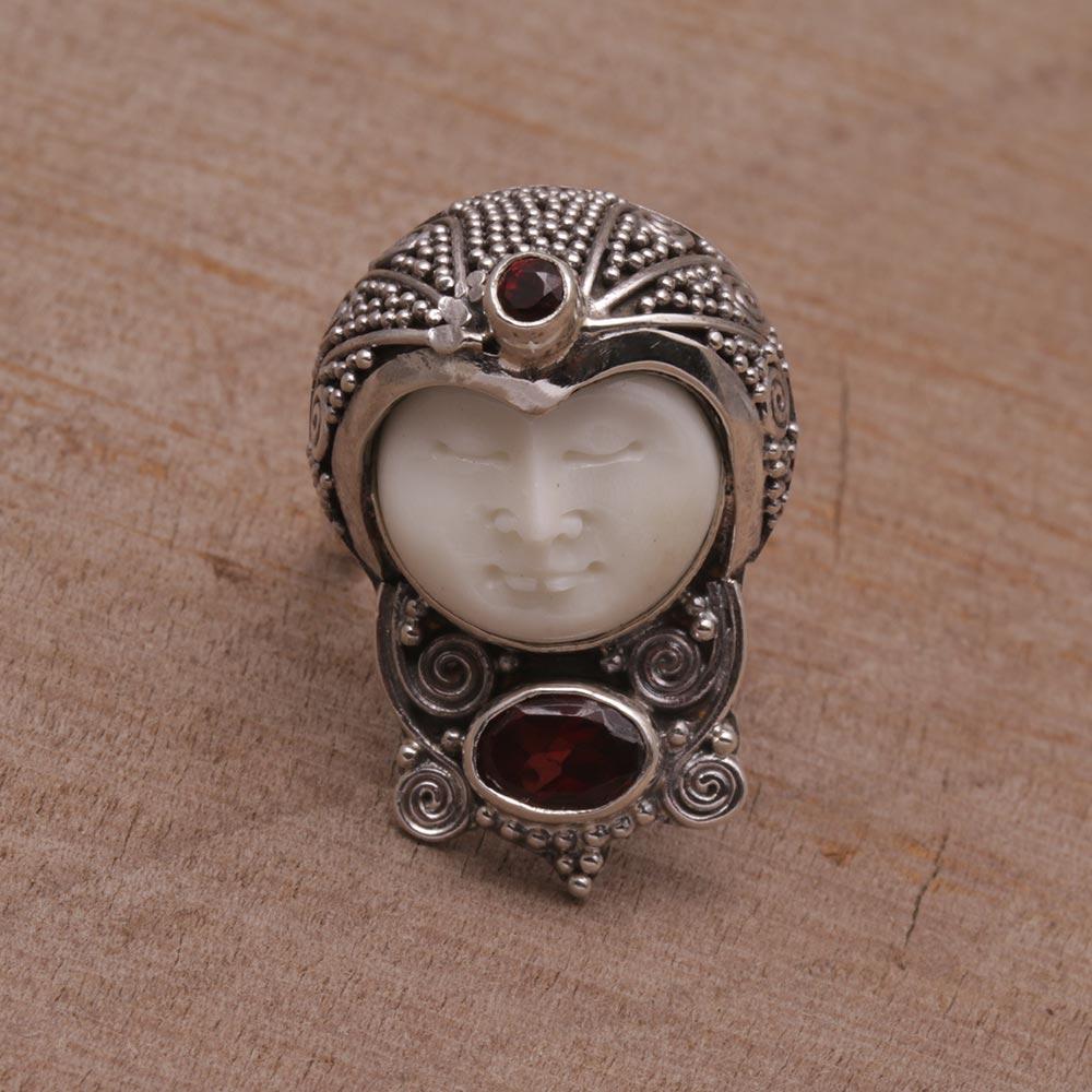 Garnet And Carved Bone Sterling Silver Celuk Cocktail Ring Celuk Prince Novica