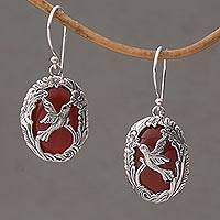 Carnelian dangle earrings, 'Nature's Freedom' - Carnelian and Sterling Silver Hummingbird Dangle Earrings