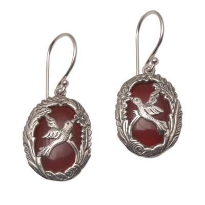 Carnelian and Sterling Silver Hummingbird Dangle Earrings