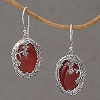 Carnelian dangle earrings, 'Dreamy Forest' - Carnelian and Sterling Silver Floral Dangle Earrings