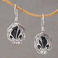 Onyx dangle earrings, 'Floral Plains' - Balinese Onyx and Sterling Silver Calla Lily Dangle Earrings
