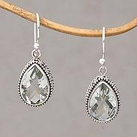 Prasiolite dangle earrings, 'Sparkling Spring' - Prasiolite and Silver Teardrop Dangle Earrings from Bali