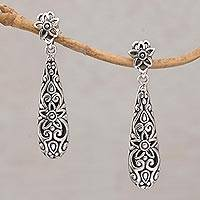 Sterling silver dangle earrings, 'Unforgettable Drops' - Sterling Silver Floral Drop Dangle Earrings from Bali