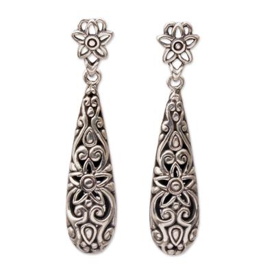 Sterling silver dangle earrings, 'Unforgettable Drops' - Sterling Silver Floral Drop Dangle Earrings from Bali