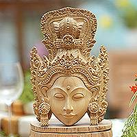 Wood mask, 'Crowned Princess Sita' - Artisan Hand-Carved Wooden Princess Sita Mask from Bali