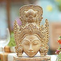 Wood mask, 'Sri Goddess' - Artisan-Handcarved Wooden Goddess Dewi Sri Mask from Bali