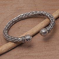 Sterling silver cuff bracelet, 'Janur Weave' - Sterling Silver Weave Motif Cuff Bracelet from Bali