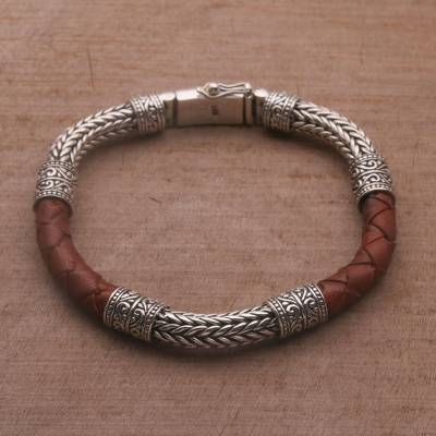 Mens sterling silver and leather bracelet, Royal Weave in Brown