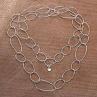 Sterling silver link necklace, 'Twisting Links' - Sterling Silver Chain Link Necklace from Bali